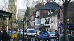Busy high street, Marlow, England Stock Footage
