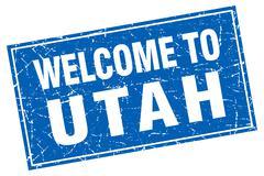 Utah blue square grunge welcome to stamp Stock Illustration