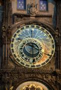 Prague Astronomical Clock at night, Czech Republic Stock Photos