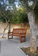Lonely wooden bench in the shade of trees - stock photo