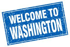 Washington blue square grunge welcome to stamp - stock illustration