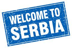 Serbia blue square grunge welcome to stamp Stock Illustration