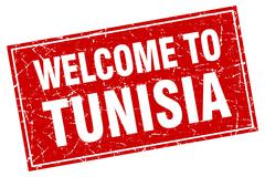 Tunisia red square grunge welcome to stamp Stock Illustration