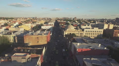 Aerial shot of McGuiness Boulevard, Brooklyn, New York, United States Stock Footage