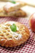 Small fruit filled pie with lattice topping - stock photo