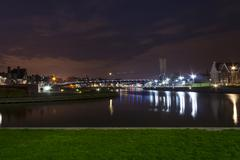 Landscape with water in the city of Kortrijk Belgium Stock Photos