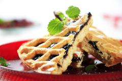 Lattice topped cake with damson cheese filling Stock Photos