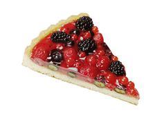 Slice of berry fruit tart isolated on white - stock photo