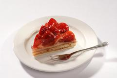 Slice of delicious strawberry cake .- closeup - stock photo