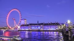 Colorful time lapse view of the London eye Stock Footage