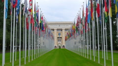 United Nations building with flags, Geneva, Switzerland, 4K - stock footage