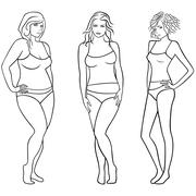 Female outlines with different figures - stock illustration