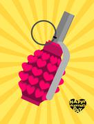 Love bomb. Breaking a pomegranate with hearts. Charge of love for Valentines  Stock Illustration