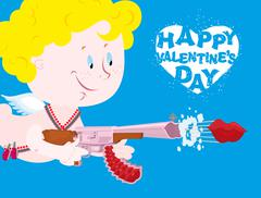Valentines day. Blue Valentine. Funny Cupid with automatic weapons. Kiss depa - stock illustration