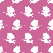 Cupid background. Seamless pattern cute Angel with wings. Ornament for Valent Stock Illustration