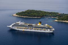 Passenger ship in Adriatic Sea - stock photo