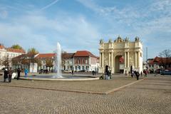 POTSDAM, GERMANY - OCTOBER 19: Luisenplatz (square) and Brandenburger Tor (Br - stock photo