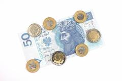 Money - polish currency 50 zloty banknote and coins Stock Photos