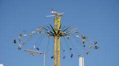 Chairoplane wheel at Oktoberfest in Munich Stock Footage