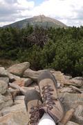 Rest on trail to Sniezka mountain in Karkonosze mountains in Poland Stock Photos