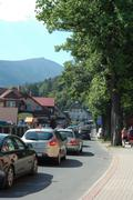 KARPACZ, POLAND - AUGUST 14: Traffic jam in Karpacz city in Karkonosze mounta - stock photo