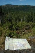 Map on Trail somewhere in Karkonosze mountains Poland Stock Photos
