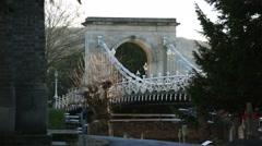 Suspension Bridge in England: Marlow, England, Europe Stock Footage