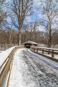 Snowy Covered Bridge Trail Stock Photos