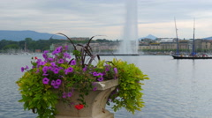 Jet d'eau fountain and flowers at geneva lake, switzerland Stock Footage