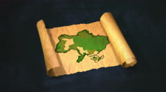 Ukraine Map Painting Unfolding Old Paper Scroll 3D 4K Stock Footage