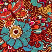 Colorful vivid vector seamless abstract hand-drawn pattern - stock illustration