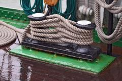 Rigging of a sailboat closeup - stock photo