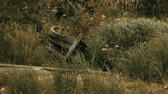 Old Wooden Boat in High Grass on a Lake Shore Stock Footage