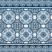 Seamless pattern with chinese ornament peony - stock illustration