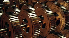 Rotating gears in gold color Stock Footage