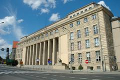 Poznan, Poland - July 13, 2014: University of Economics main building in Pozn Stock Photos