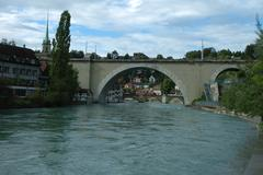 Bern, Switzerland - August 15, 2014: Bridges (Nydeggbrucke and Untertorbrucke Stock Photos
