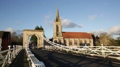 Suspension bridge over Thames River, Marlow, England, Europe Stock Footage