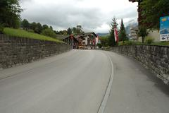 Grindelwald, Switzerland - August 19, 2014: Empty street and buildings in Gri Stock Photos