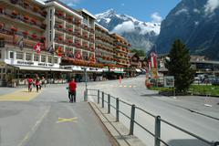Grindelwald, Switzerland - August 19, 2014: Buildings and unidentified people Stock Photos