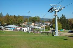 Szklarska Poreba, Poland - October 4, 2014: Szrenica mountain chairlift stati - stock photo