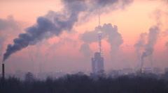 Aerial winter evening with smoky rose sunset and TV tower. Stock Footage