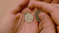 4K Counting Coins In Hand - stock footage