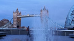 Tower bridge in London with a jet of water Stock Footage