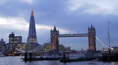 View of the iconic Tower Bridge and the Shard Stock Footage