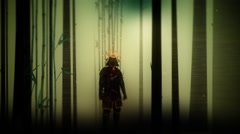 Epic samurai Warrior Wearing Full Body Armor Standing in the Forest Stock Footage