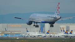 Airplane landing in Frankfurt Stock Footage
