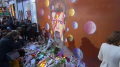 Fans pay tribute to legendary music icon David Bowie Stock Footage