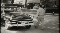 3153 new 1954 Ford two door sedan - vintage film home movie - stock footage