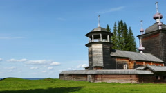 Wooden Church of St.Elijah the Prophet on Vodlozero Lake in Karelia, Russia - stock footage
